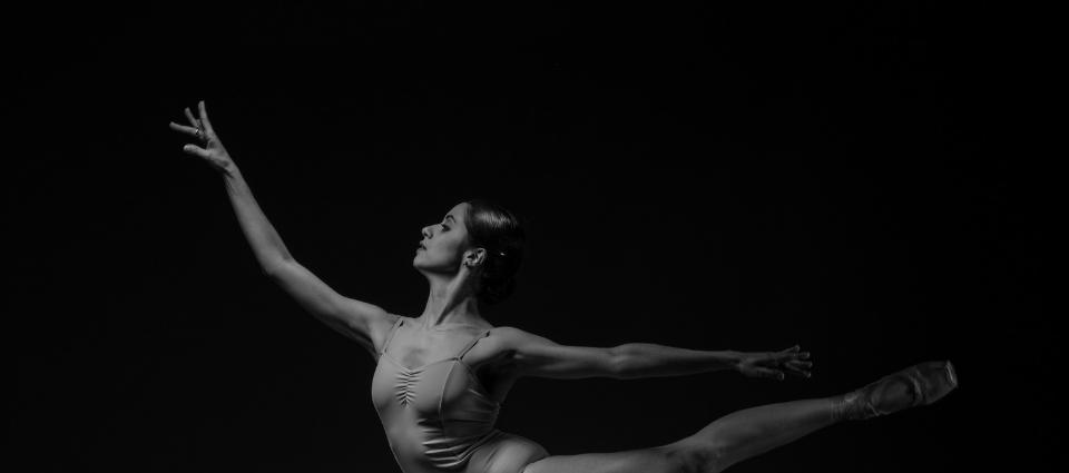 Ballet performer doing an attitude.